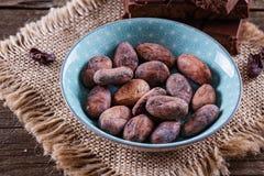 Fagioli crudi del cacao sopra fondo di legno rustico Fotografie Stock Libere da Diritti