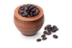 Fagioli del grano in vaso ceramico Fotografia Stock Libera da Diritti