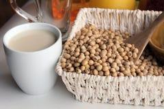 Fagioli della soia e latte di soia Fotografia Stock Libera da Diritti