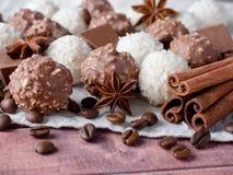 Fagioli di Anise Cinnamon Coffee della stella della noce di cocco del cioccolato sulla Tabella di legno del fondo Fotografie Stock Libere da Diritti