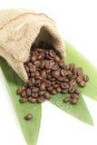 Fagioli di Cofee in una borsa Fotografia Stock