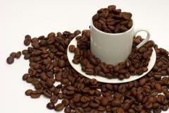 Fagioli di Espressso in tazza del caffè espresso Immagini Stock