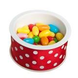 Fagioli di gelatina in casella rotonda Immagini Stock