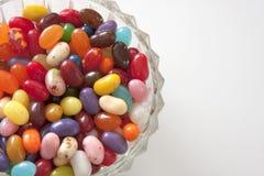 Fagioli di gelatina in piatto di vetro Fotografia Stock Libera da Diritti