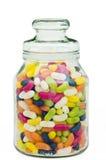 Fagioli di gelatina in un vaso di vetro della caramella Fotografie Stock Libere da Diritti
