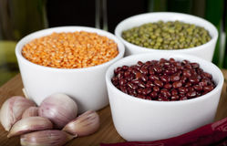 Fagioli ed aglio Fotografia Stock