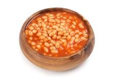 Fagioli inscatolati in salsa al pomodoro Fotografia Stock
