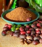 Fagioli organici maturi e secchi rossi del caffè Arabica, caffè macinato fresco, bio- azienda agricola del caffè fotografia stock libera da diritti