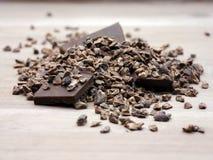 Fagioli schiacciati crudi dei punti del cacao Fotografia Stock Libera da Diritti