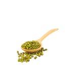 Fagioli verdi sopra il cucchiaio di legno isolato su bianco Immagine Stock