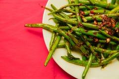 Fagiolini cucinati organici freschi Fotografie Stock
