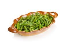 Fagiolini verdi con aglio Fotografie Stock