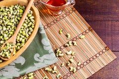 Fagiolino verde verde - alimento di nordest tipico con l'olio del dende fotografie stock