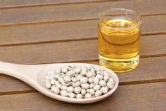Fagiolo della soia ed olio della soia Immagini Stock
