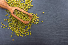 Fagiolo verde verde e mestolo di legno dell'oliva su fondo nero dell'ardesia o della pietra fotografia stock