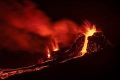Free Fagradalsfjall Volcanic Eruption At Night, Iceland Royalty Free Stock Photos - 214081548