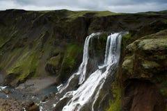 Fagrifoss (Piękna siklawa) w Lakagigar terenie, południowy Iceland Zdjęcia Royalty Free