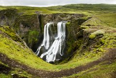 Fagrifoss waterfall Stock Photography
