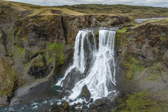 Fagrifoss waterfall in Iceland. Royalty Free Stock Images