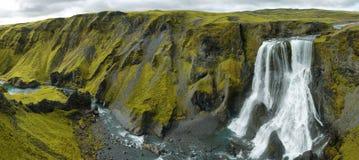 Fagrifoss waterfall Stock Images