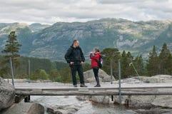 Faher e filha como caminhantes Imagem de Stock