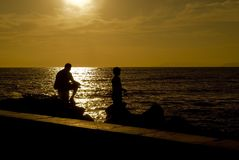 Faher and son fishing Royalty Free Stock Photos