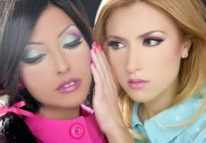 Fahion ύφους της δεκαετίας του '80 κουκλών γυναικών Barbie makeup στοκ φωτογραφία με δικαίωμα ελεύθερης χρήσης