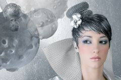 Fahion makeup hairstyle woman futuristic silver. Fahion makeup hairstyle woman futuristic trendy silver portrait Stock Images