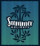 Fahne auf dem Tourismusthema mit Palme und Meer Stockbilder
