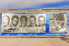 Fahne auf der Wand am Dock in Robben-Insel Lizenzfreies Stockbild
