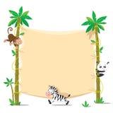 Fahne auf zwei Palme mit kleinen lustigen Tieren Stockbild