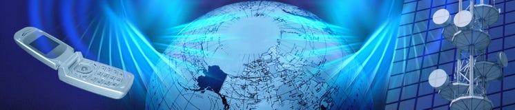 Fahne/blauer elektronischer Geschäftsverkehr/Telekommunikation des Vorsatzes Stockfoto