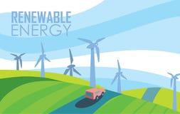 Fahne der erneuerbaren Energie WindStromerzeugung Lizenzfreie Stockfotografie