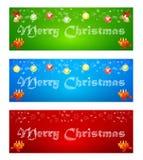 Fahne der frohen Weihnachten auf verschiedenen Hintergründen mit Elementen von lizenzfreie abbildung