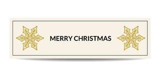 Fahne der frohen Weihnachten mit goldener Schneeflocke vektor abbildung