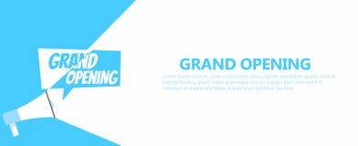 Fahne der großartigen Öffnung Grammophon mit Text, auf einem weißen blauen Hintergrund Lizenzfreie Stockbilder