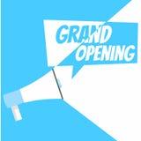 Fahne der großartigen Öffnung Grammophon mit Text, auf einem weißen blauen Hintergrund Lizenzfreie Stockfotografie