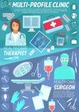 Fahne der medizinischen Klinik der Grundversorgung und der Chirurgie Lizenzfreie Stockfotografie