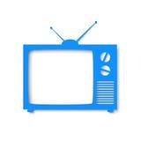 Fahne des blauen Papiers in der Form von Fernsehen Stockbild