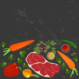 Fahne des rohen Lebensmittels Stockfotos