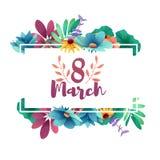 Fahne für den internationalen Frauen ` s Tag Flieger für den 8. März mit dem Dekor von Blumen Einladungen mit der Nr. 8 Zoll Stockbild
