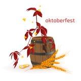 Fahne für Octoberfest mit Herbstlaub, hölzernem Fass und den Ohren des Weizens Stockbild