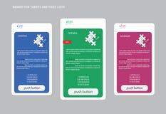 Fahne für Tarife, ein Satz Preiskalkulationstabellen, Puzzlespiel Stockfotografie