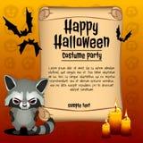 Fahne glückliches Halloween und verärgerter Waschbär stock abbildung