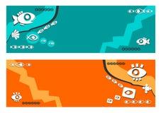 Fahne, Hintergrund - abstrakt, ethnisch, Fisch, Augen, blauer Hintergrund, orange Hintergrund, stilvoll, stilisiert vektor abbildung