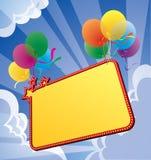 Fahne mit Ballon Lizenzfreie Stockbilder