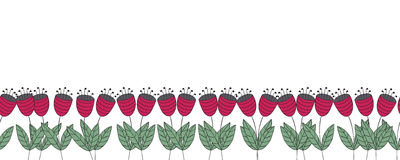 Fahne mit Blumen Nahtlose Grenze der roten flachen Glockenblumen Stockfotografie