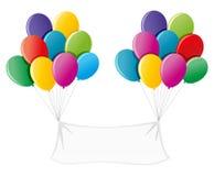 Fahne mit bunten Ballonen Lizenzfreies Stockfoto