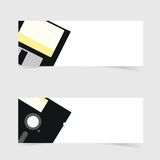Fahne mit Disketteikonenillustration auf Grau Stockfotos