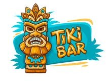 Fahne mit ethnischer traditioneller Stammes- Maske Tiki Stockfotografie